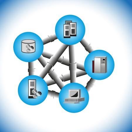how: Este vector ilustra c�mo una tecnolog�a middleware distribuido conecta, varios legacy y aplicaciones empresariales en la topolog�a de red diferente como punto-a-punto, un abrazo y dijo, Enterprise Service Bus en la integraci�n moderna Vectores