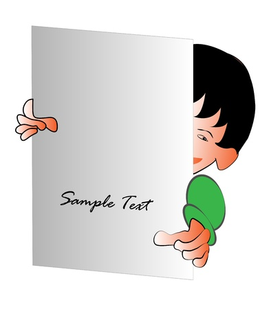This Vector Illustration describes a cartoon art of a kid, who is holding a white gray shade note paper, which the user can type their text on this paper