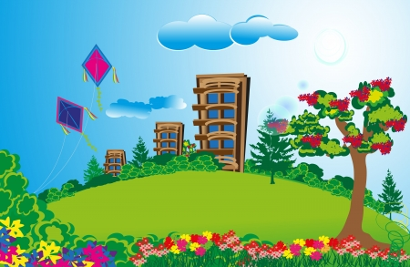 Vector Illustartion of tall apartment in a long green fields with colorful flowers and bright sky Vector