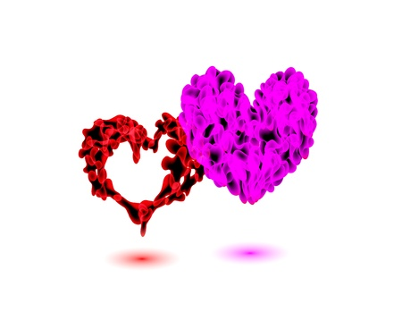 A beautiful vibrant ValentineS Day heart symbols on black background