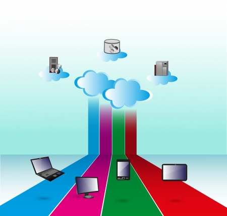 Illustration of how Cloud computing network connects various computers over internet Vector