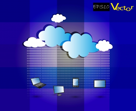 Illustration of Cloud Computing Network on a texture background with beautify clouds on vibrant blue shades Vector