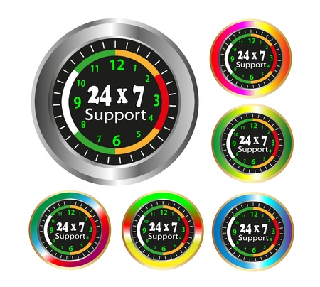 24x7: Illustration - Colorful Collection of a global clock which support 24X7 supports  Illustration
