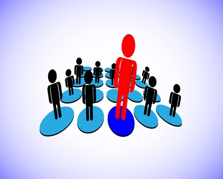 illustration of a Leader who has group of followers in a business, organization, this also represents a manager and team members, employee and employer, unique person from a group Ilustração