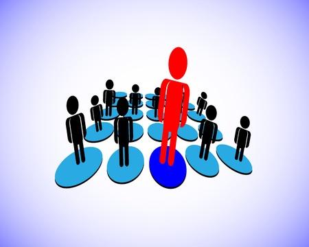 followers: illustrazione di un leader che ha gruppo di seguaci in un business, organizzazione, questo rappresenta anche un manager e membri del team, dipendente e datore di lavoro, persona unica da un gruppo Vettoriali