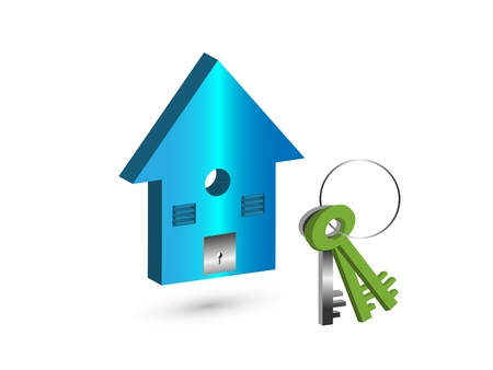 home security: illustration - The Concept of Own a house with beautiful blue color 3d image of toy house shown with a key set