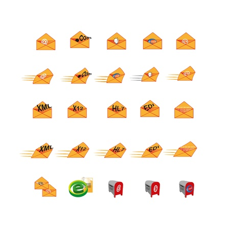 Collection of web icons which can use mainly used to represent digital information, email, message, and data of an information technology