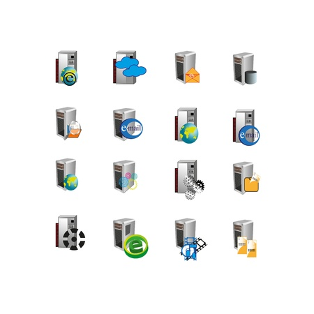 Collection of web icons which can use mainly used to represent digital information, file system, multimedia, email, message and data hardware servers of an information technology