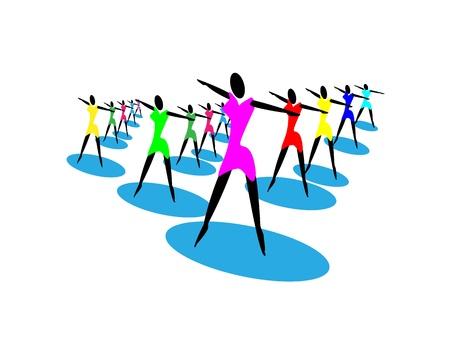 Symbol of group of girls dancing Imagens - 21925463