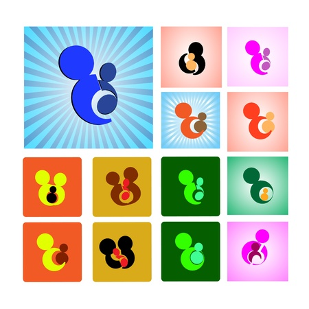 Colorful Collection of mother and child Symbols,