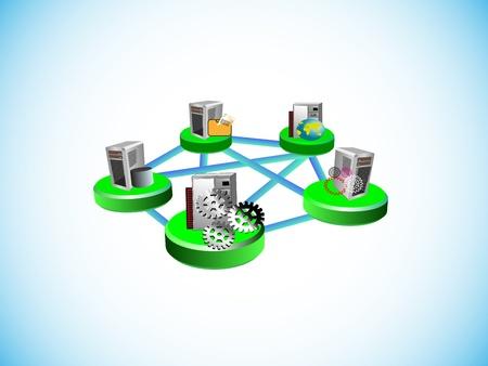 Ilustración de cómo una tecnología distribuida middleware integra diversos legacy y aplicaciones empresariales en la topología de red diferente como poin al punto en el espacio de integración