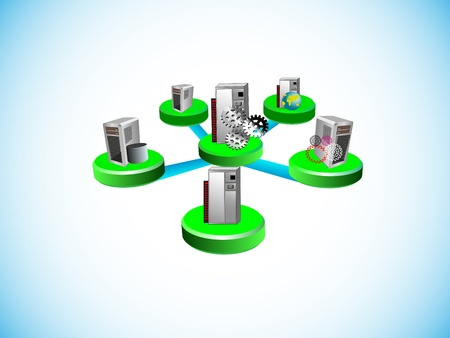 Vector illustration of how a middleware distributed technology integrates vaus legacy and enterprise applications in different network topology like hub and spoke in integration space Stock Vector - 21925494