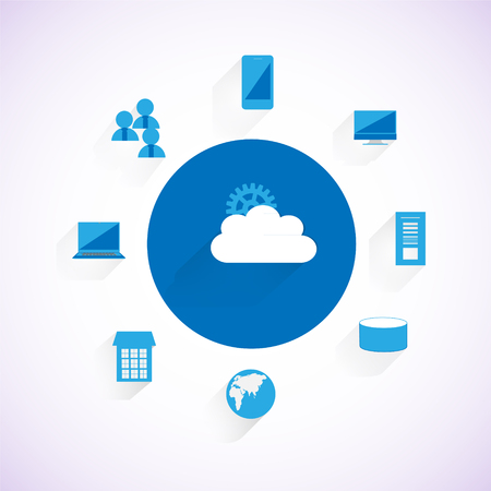 Concept of Enterprise System integration through Cloud computing network, Different enterprise applications, people, mobile applications connecting through a Cloud system over the web Ilustração