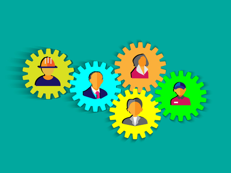 People icons on the gear wheel, This Vector illustration represents the concept team work, social network, unity