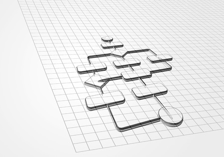 bpm: Business process drawing on graph paper background Stock Photo