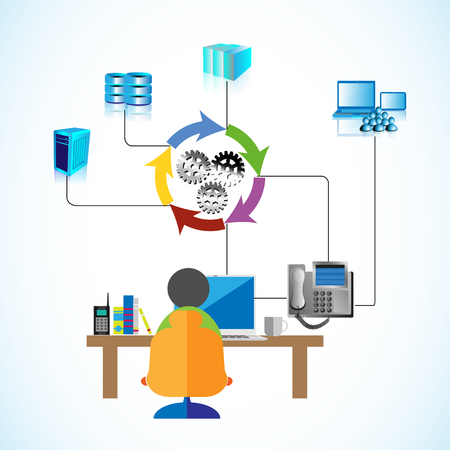 Vector illustration of a Software engineer gathering requirements from the business users over phone and developing an integration system by connecting database, application and web servers Ilustração