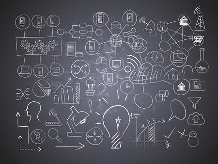 Vector image of Information technology drawings on black board Illustration