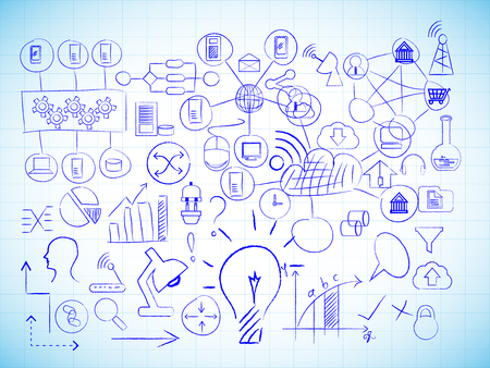 Vector image of Information technology drawings on a line pattern background