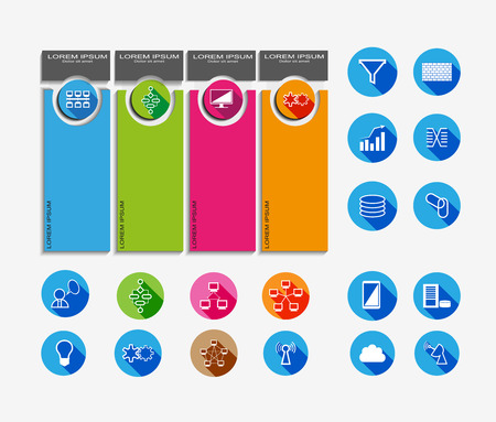 Technology Info graphics and reusable flat Icon collection Illustration