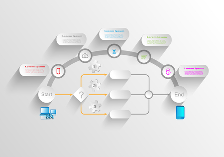 lookup: Business process infographics Illustration