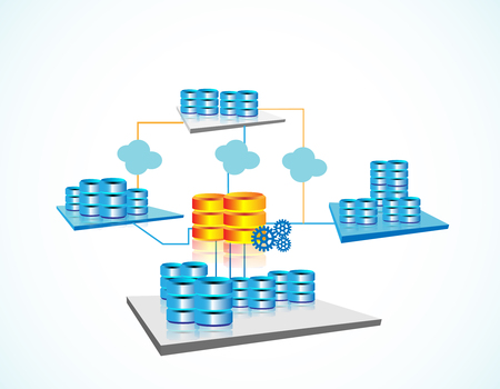 Vector illustration of Data warehousing and represents data integration, data extract, load and transformation from one database to other through data warehouse, big data servers