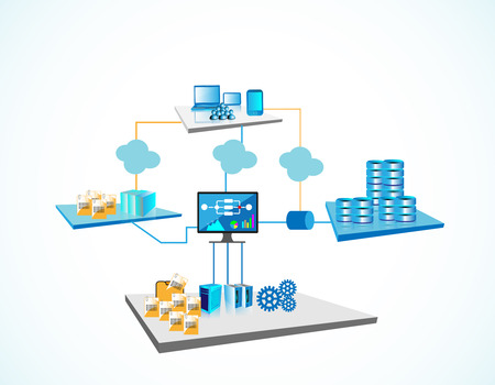 System Integration Architecture, illustrates various systems like legacy and enterprise servers, file servers, big database servers and monitoring systems are integrated through different networks Vettoriali