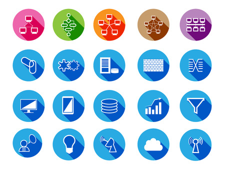 Collection of Technology System integration and other generic Flat Icons.