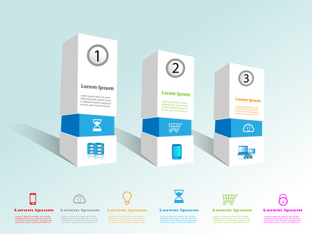 Technology Infographics with box design, This provides the collection of technology icons which can be reused with the boxes and relevant technology/business content write up for web.