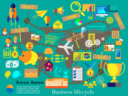 Vector illustration of a Journey to the Business success, which is shown with life cycle flat icon collection with year wise growth. this can also be used as business infographics