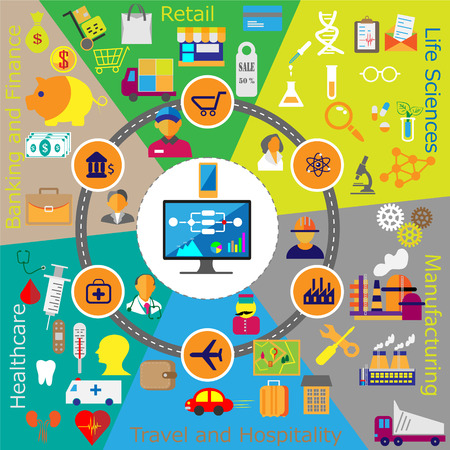 Collection of web flat icons from different industries like Retail, Banking, Finance, Healthcare, Life Sciences, Manufacturing, Travel, Hospitality. People connected with industry specific technology