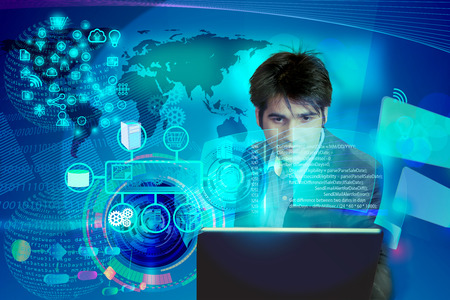 Virtual image of a Business man operating the process of triggering a software development process, which it connects the various systems globally through a single click in a network and coding phase