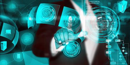 Virtuelle Bild von einem Geschäftsmann Berühren der Prozess ein Software-Entwicklungsprozess auszulösen, die es, die verschiedenen Systeme weltweit über eine einzige Berührung in einer Netzphase während der Codierung verbindet.