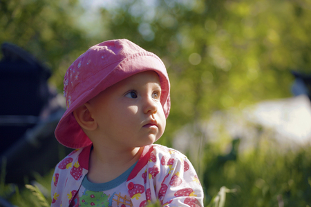 explores: Baby explores the world Stock Photo
