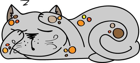 mjau: Illustration of sleeping cute kitten