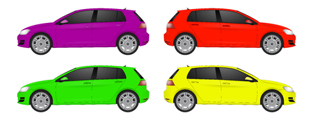 Set of different color car, realistic car models, for web or print, logo, symbol, icon or design can be used in field of motor repairing service, car washing, repair, autoparts, suv model car