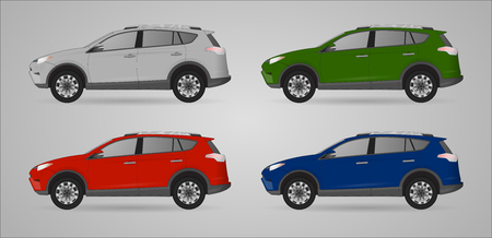 Set of different color car, realistic car models, for web or print, symbol, icon or design can be used in field of motor repairing service, car washing, repair, autoparts, suv model car