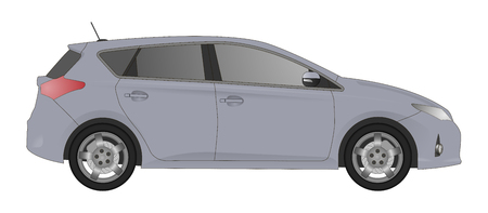 crossover: Realistic model car isolated on background. Detailed drawing. Vector illustration. One click change color body, realistic car models with shadows and reflections, car shop, car repair, autoparts