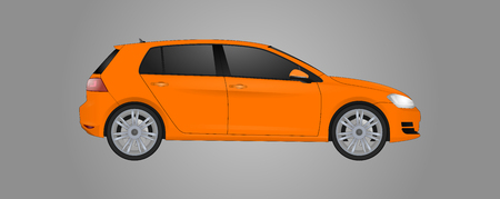 Realistic model car isolated on background. Detailed drawing. Vector illustration. One click change color body, realistic car models with shadows and reflections, car shop, car repair, autoparts