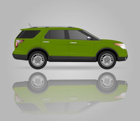 Realistisches vorbildliches Auto getrennt auf Hintergrund. Detaillierte Zeichnung. Vektor-Illustration. Ein Klick ändert Farbkörper, realistische Automodelle mit Schatten und Reflexionen, Autoladen, Autoreparatur, Autoparts