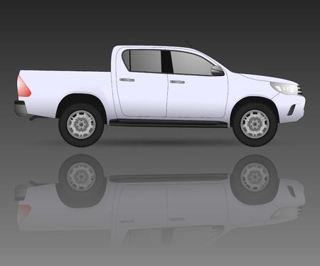 Realistische modeldieauto op achtergrond wordt geïsoleerd. Gedetailleerde tekening. Vector illustratie. Eén klik verandert van kleur, realistische automodellen met schaduwen en reflecties, autohow, autoreparatie, autoparts