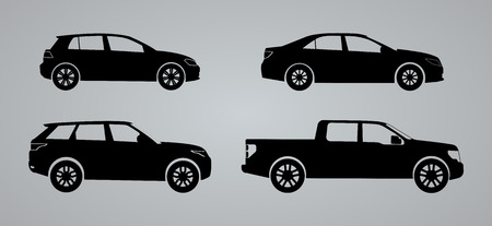 Silhouette cars on a white background. Vector illustration.