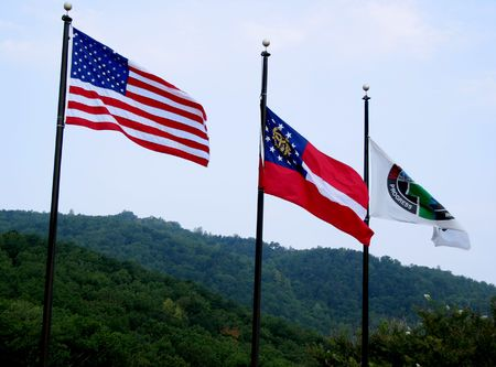 Flags flying overr Georgia Imagens