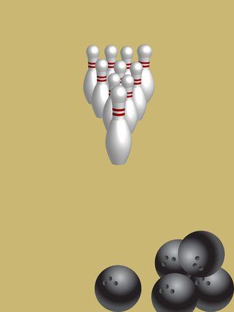 Bowling game concept illustration. Stock Illustration - 5041986