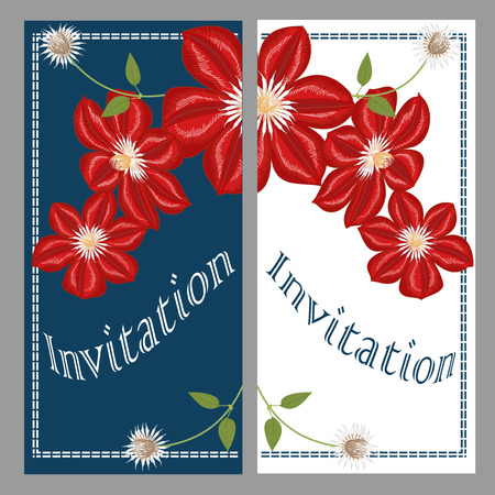 Vector Colorful Invitation Card with Clematis. A hand-drawn image for insertion into a document, a website, a presentation, etc.