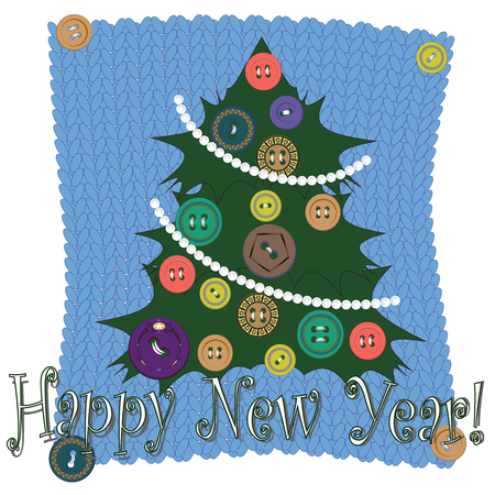 Vector clipart New Year card. A hand-drawn image for insertion into a document, a website, a presentation, for desktop and just for the soul. 일러스트