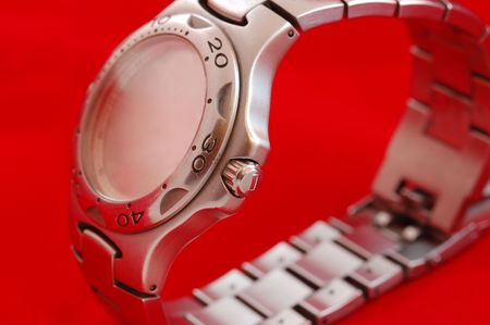 Silver watch with no hands, showing no time Stock Photo - 669309