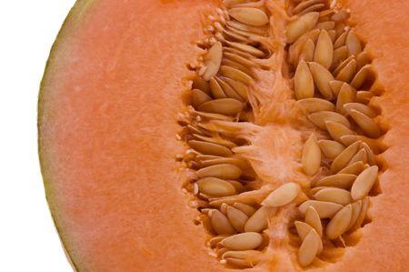 A macro closeup of the center of a Cantaloupe melon