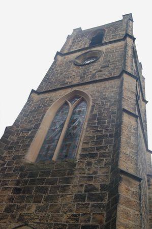 a shot looking upwards at a church tower Stock Photo