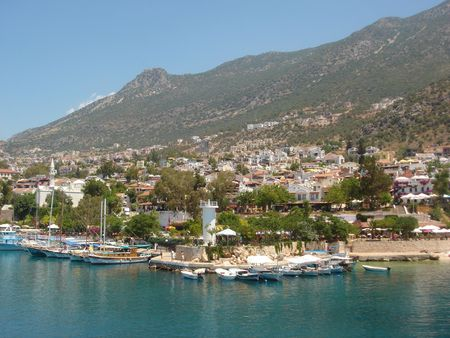 The harbour at Kalkan in Turkey, looking towards the town