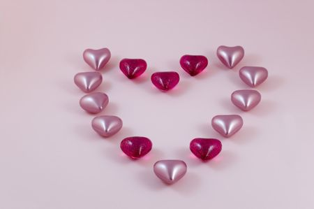 A collection of love hearts in the shape of a larger heart